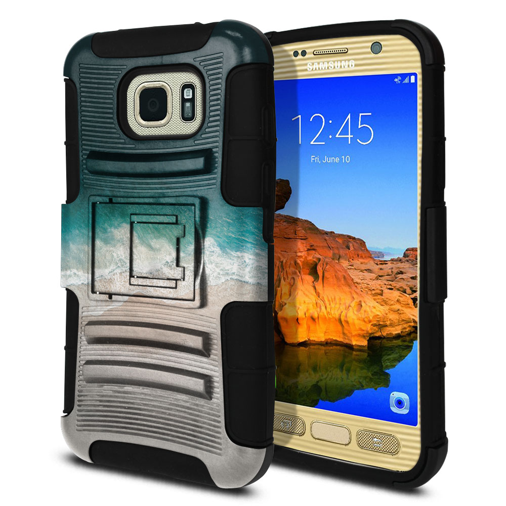 Samsung Galaxy S7 Active G891 Hybrid Rigid Stand Sandy Beach Protector Cover Case