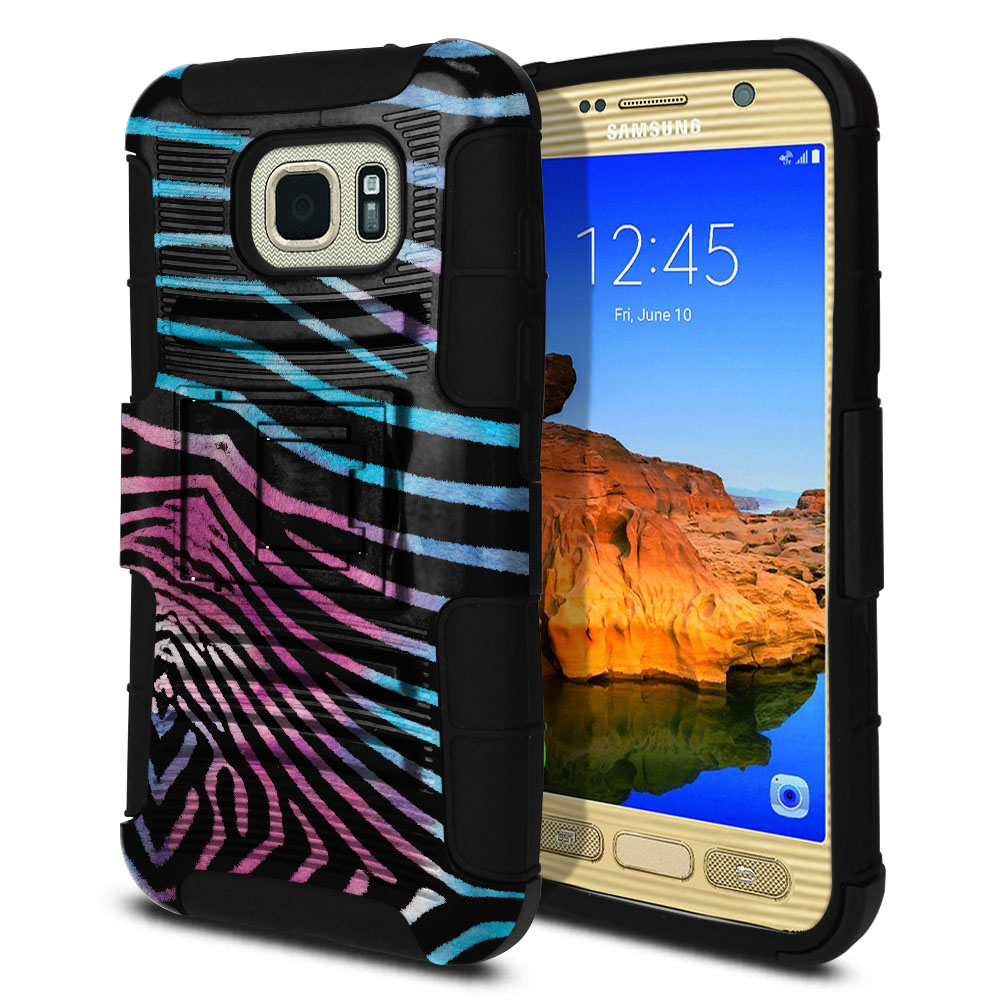 Samsung Galaxy S7 Active G891 Hybrid Rigid Stand Zebra Stripes Black Protector Cover Case
