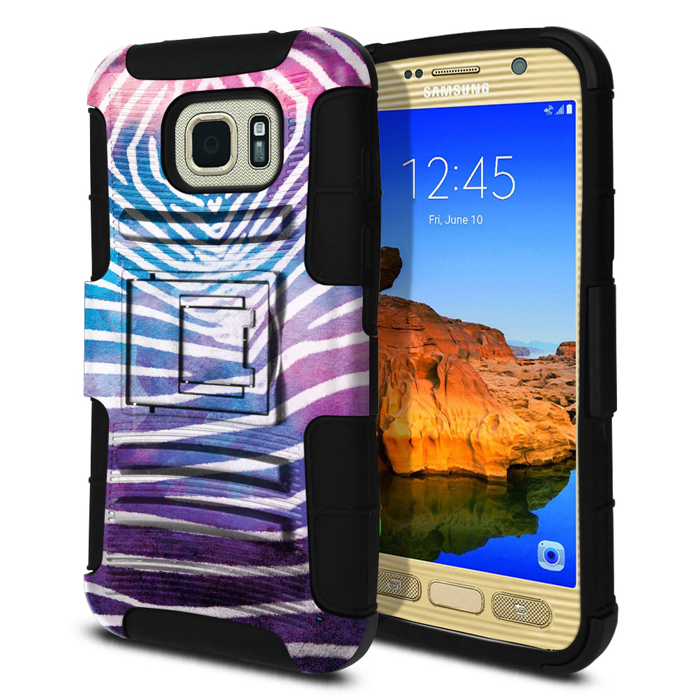 Samsung Galaxy S7 Active G891 Hybrid Rigid Stand Zebra Stripes White Protector Cover Case
