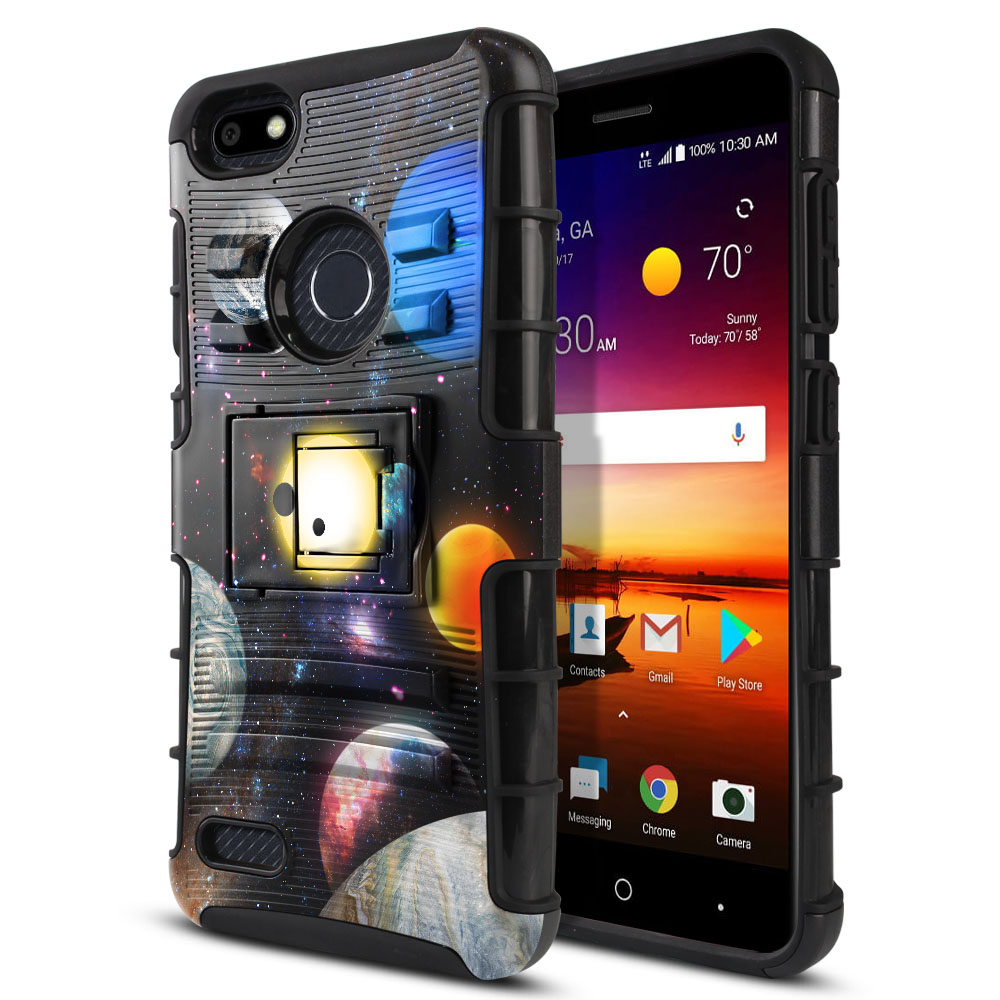 ZTE Blade X Z965 Hybrid Rigid Stand Planet Solar System 2 Protector Cover Case