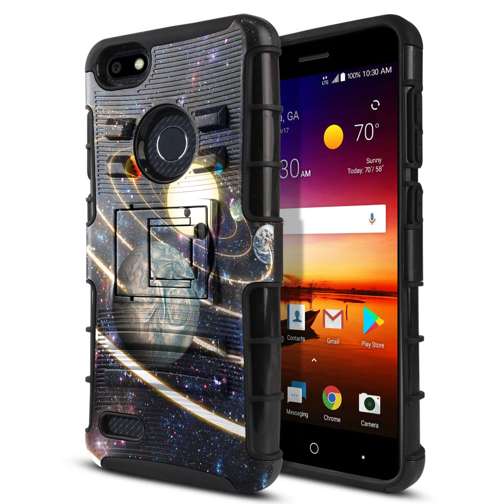 ZTE Blade X Z965 Hybrid Rigid Stand Rings of Solar System Protector Cover Case