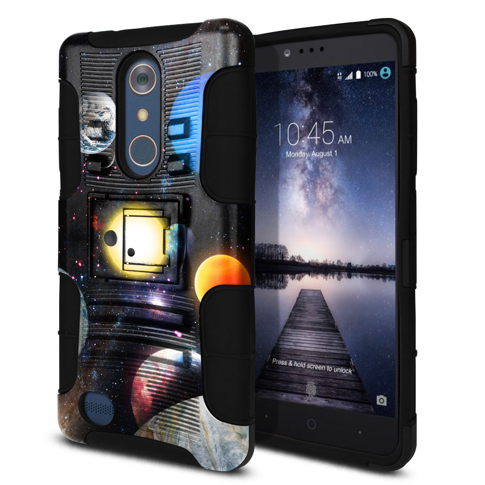 ZTE Zmax Pro Carry Z981 Hybrid Rigid Stand Planet Solar System 2 Protector Cover Case