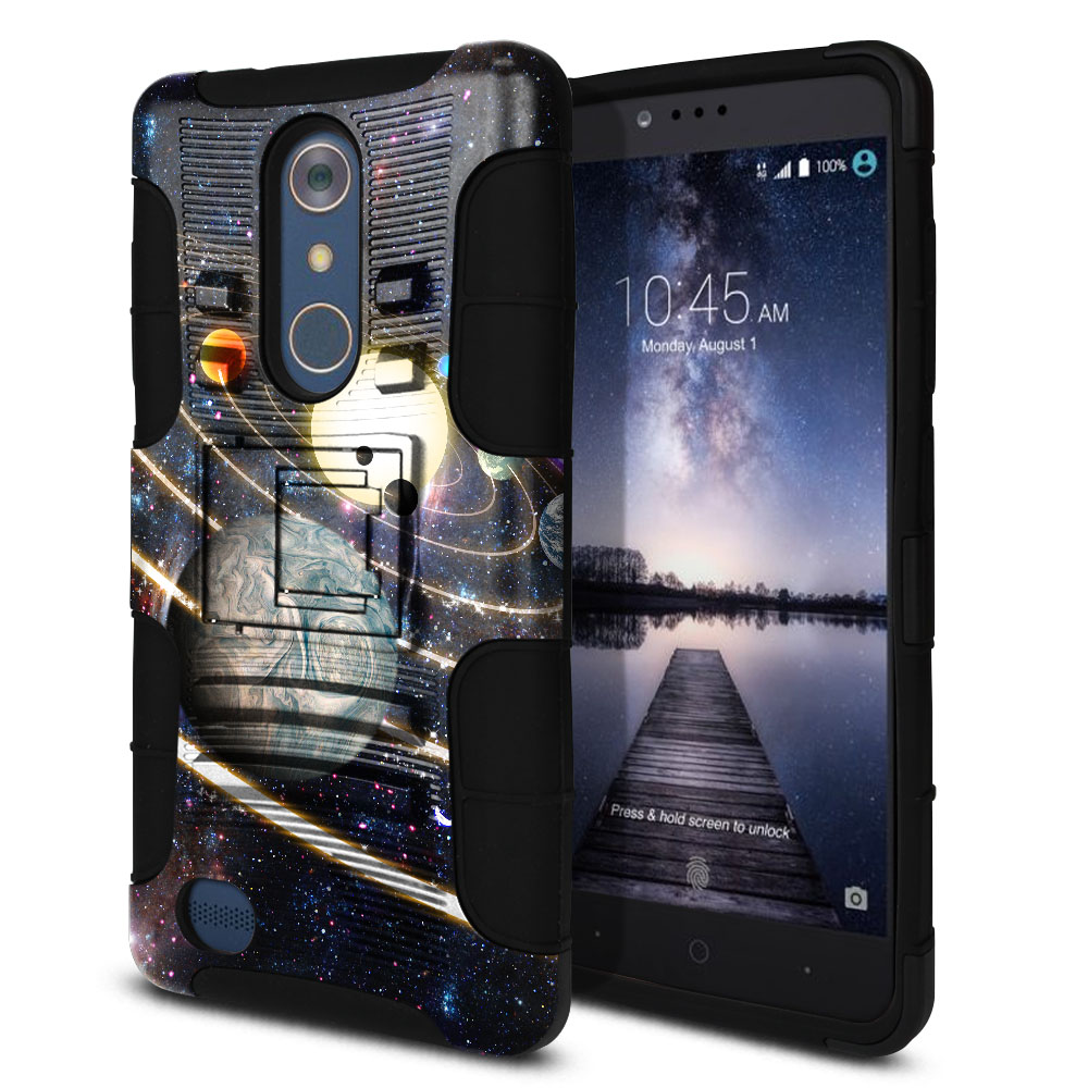 ZTE Zmax Pro Carry Z981 Hybrid Rigid Stand Rings of Solar System Protector Cover Case