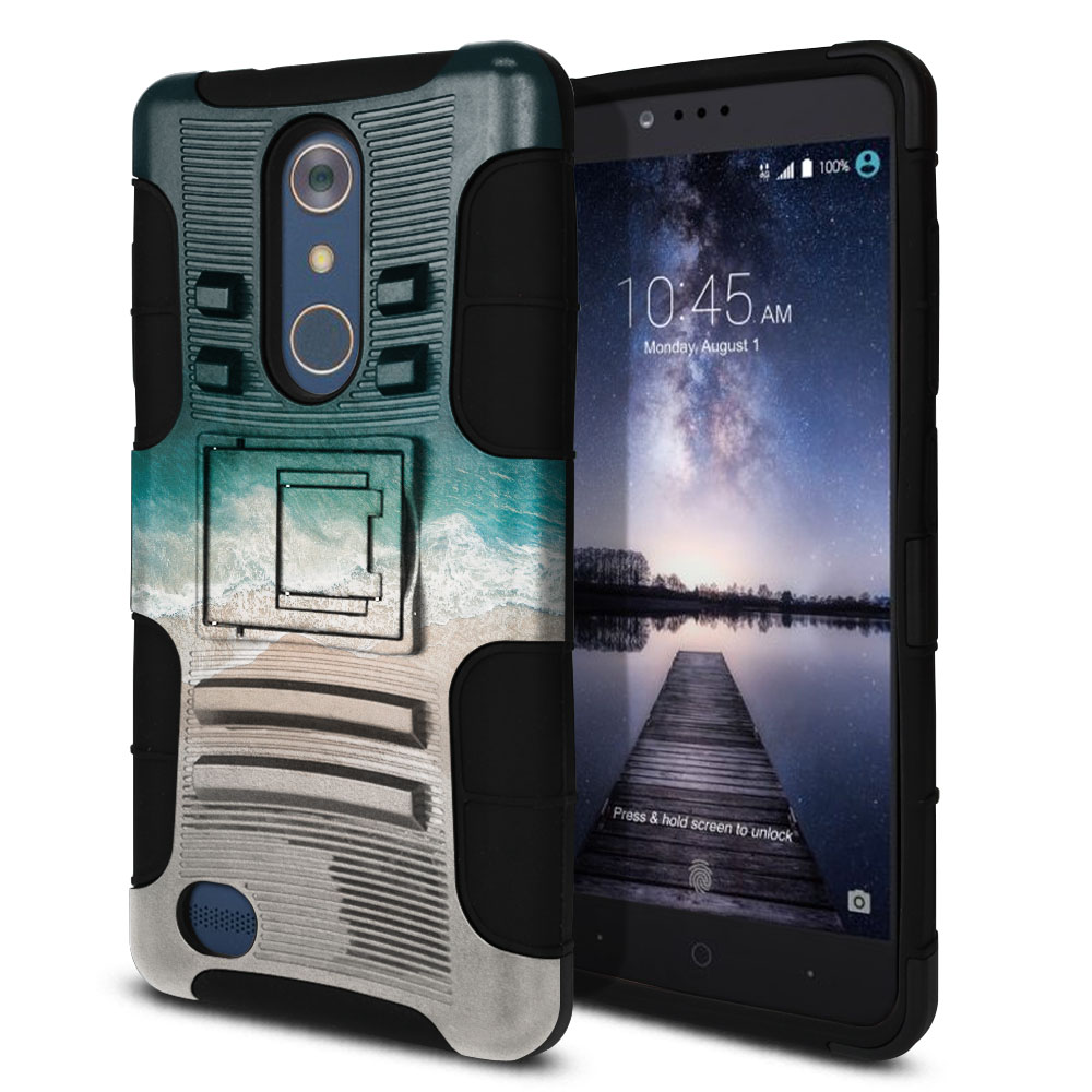 ZTE Zmax Pro Carry Z981 Hybrid Rigid Stand Sandy Beach Protector Cover Case
