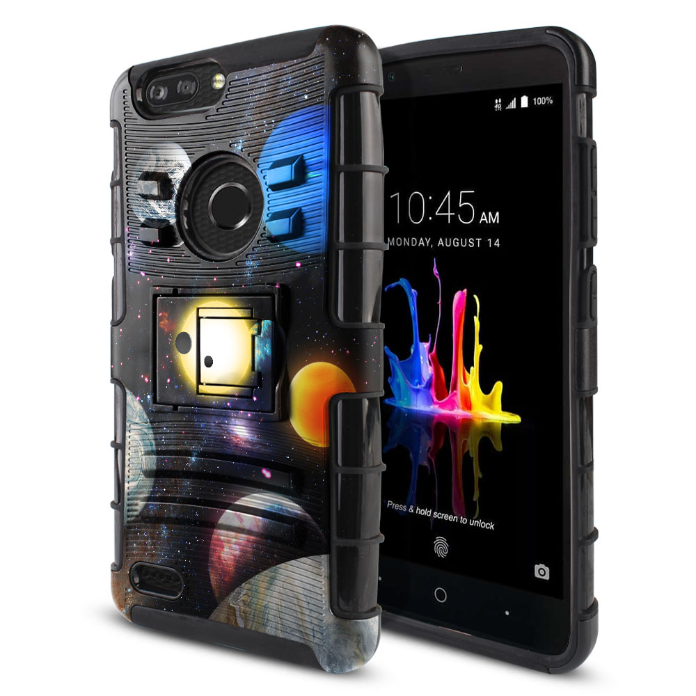 ZTE Blade Z Max Z982/ Sequoia Hybrid Rigid Stand Planet Solar System 2 Protector Cover Case